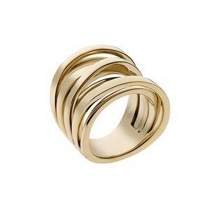 New Michael Kors MK gold tone multi cluster ring
